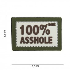 100% Asshole patch beige groen