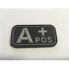 Bloedgroep A+ 3D PVC Patch Zwart